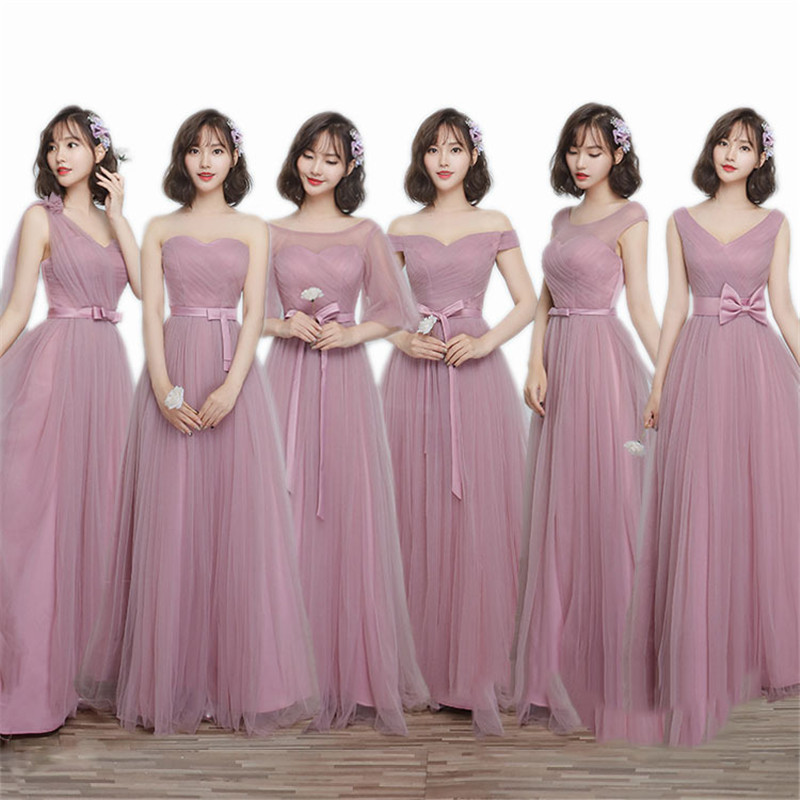 New Long Pink Bridesmaid Dress Party Dress For Wedding 2019 Round Neck Lace Tulle Pleated Ribbons Prom Gowns For Graduation