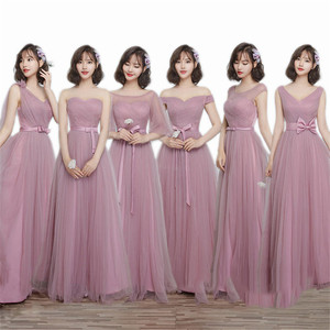 New Long Pink Bridesmaid Dress Party Dress For Wedding 2019 Round Neck Lace Tulle Pleated Ribbons Prom Gowns For Graduation(China)