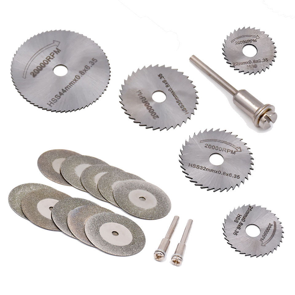 18pcs HSS Rotary Blades diamond Cutting Discs For Dremel Rotary Tool Electric Grinding Accessories Cut-off Circular Saw Tools cnbtr 10 x rotary discs blades tool diamond coated 35mm cut off wheel w two mandrel