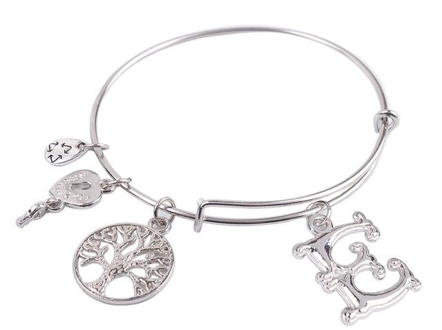 5PCS  Fashion bracelet Silver Color Tone Initial E Letter Expandable Wire Bangle  #91288