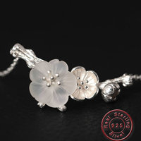 Amxiu Luxury Natural Crystal Branch Flower Necklace Handmade 925 Silver Jewelry For Women Girls Accessories Valentine's Day Gift
