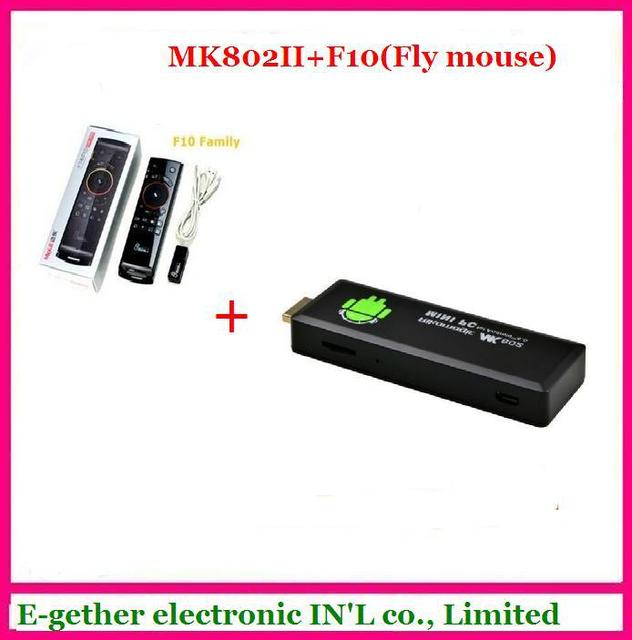 hot sale for MK802 II Mini Android 4.0 PC Android TV Box A10 Cortex A8 1GB RAM 4G ROM HDMI TF Card + F10 Fly air mouse