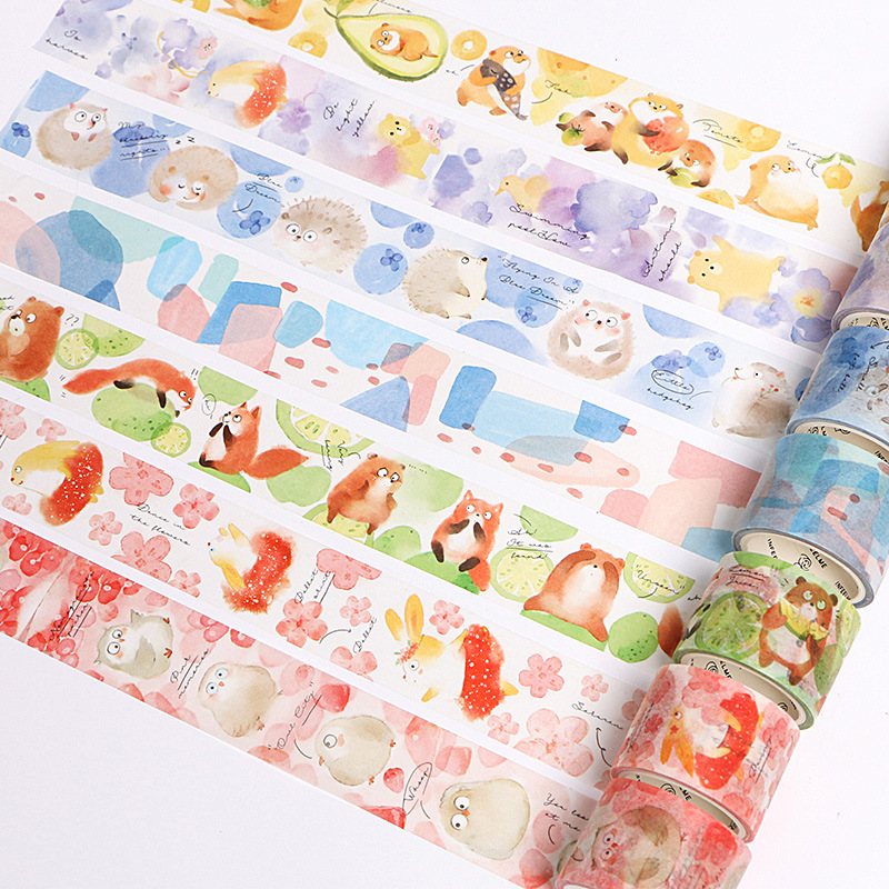Cute Forest Animals Fruits Collage Decorative Washi Tape Diy Craft Scrapbooking Tools Masking Planner Tape