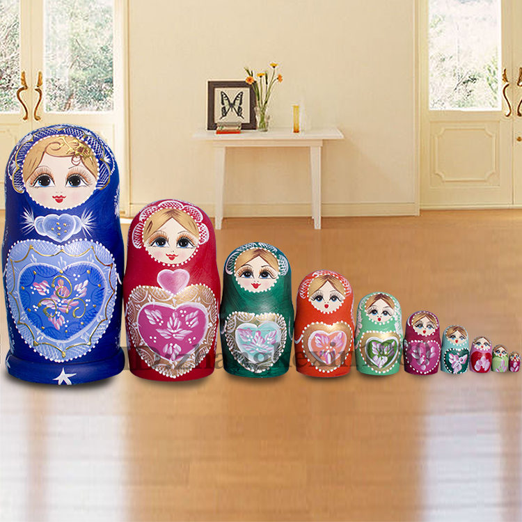 10Layer Russian Nesting Dolls Wooden Handmade Traditional  Stacking Dolls Matryoshka Kids Children Birthday Christmas Gifts Toy