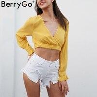 BerryGo Sexy V Neck Long Sleeve Crop Top Women Backless Button Up Ruffle Short Top 2018