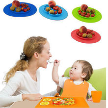 Easy to Carry One Piece Silicone Divided Dish Toddler Kids Food Placemat Plates