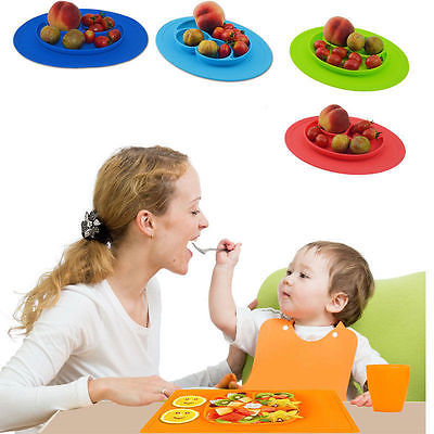 Easy to Carry One Piece Silicone Divided Dish Toddler Kids font b Food b font Placemat
