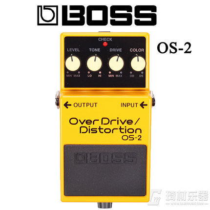 Boss Audio OS-2 Overdrive and Distortion Effects Pedal  for Guitar and Bass with Level, Tone, Drive, and Color Controls