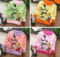 2014 Rushed free shipping fashion long sleeve cotton o-neck double minnie cartoon character baby boys girls clothing sweaters