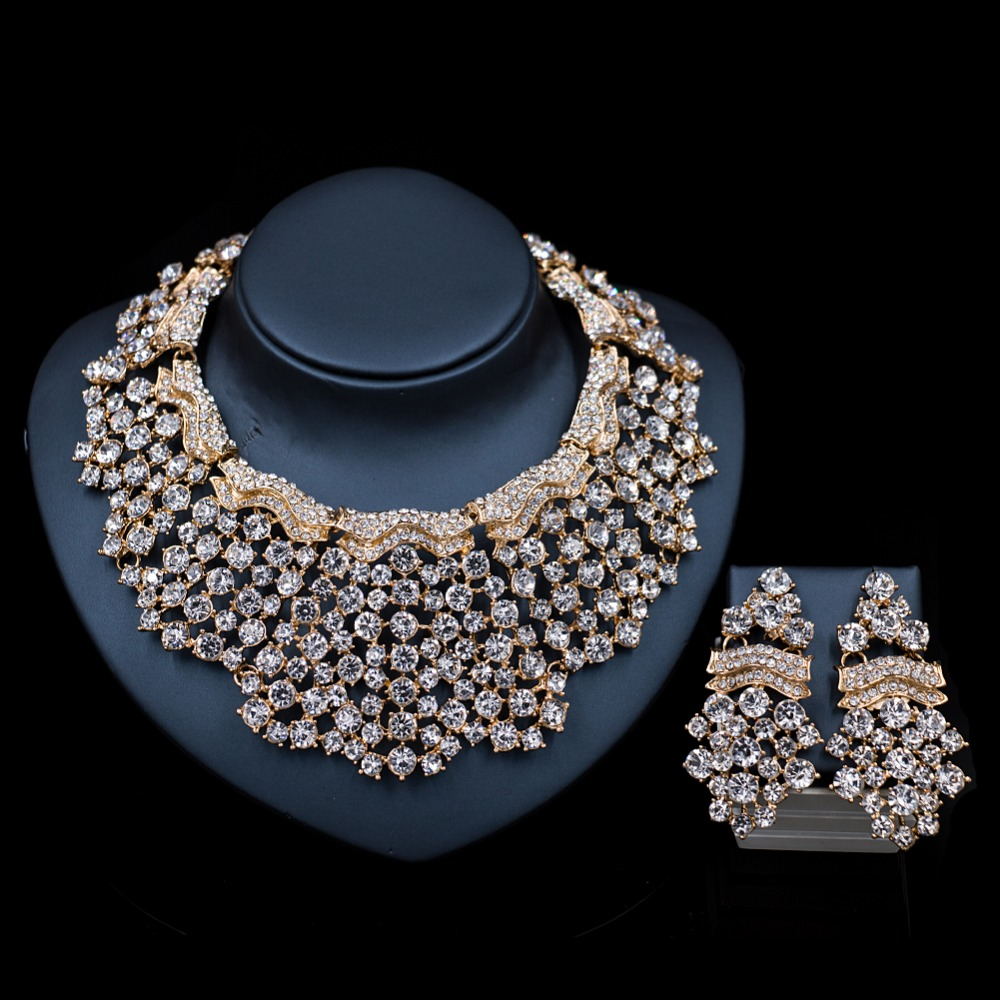 2017 LAN PALACE turkish jewelry sets bridal necklace and earrings austrian crystal necklace african jewelry set free shipping