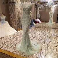 LS7327 Abendkleid New Fashion Real Sample Mermaid Sexy See Through Back Long Evening Dress Rhinestone Prom Dresses