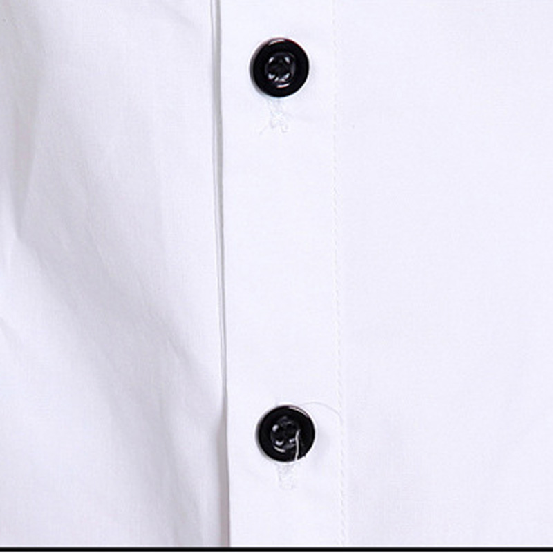 Moda Ofisi Xanım Ağ Pambıqlı Bluza Plus Ölçü S-3XL Botton - Qadın geyimi - Fotoqrafiya 5
