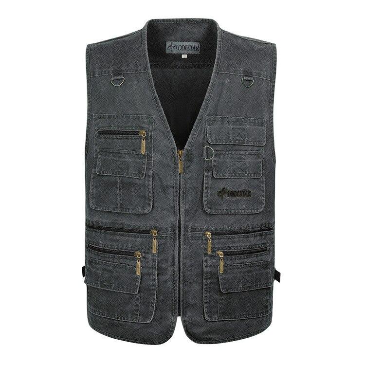 2018 Oversize 7xl Denim Gilet Uomo Cotone Pantaloni Multi-tasca Jean Jacket Gilet Maschile Di Marca Militare Gilet Masculina Jaquetas Prezzo Moderato