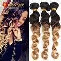 8A Ombre Brazilian Virgin Hair Loose Wave 3 Bundles Soft Weave Ombre Hair Extensions T1B/27 Blonde Ombre Brazilian Human Hair