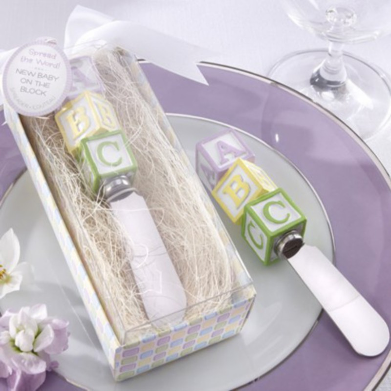 100pcs/Lot+Chrome Spreader with Resin Cute ABC Handle Wedding Favors and Gifts Baby Birthday Tool Butter Knife+FREE SHIPPING