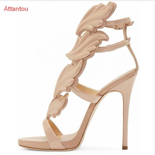 def8e0076c56c5 New Arrival Own Fashion Women beautiful Leaf Wing Flip Flops High Heeled  Sandals Nude Gold Silver Colors Shoes Woman Slipper