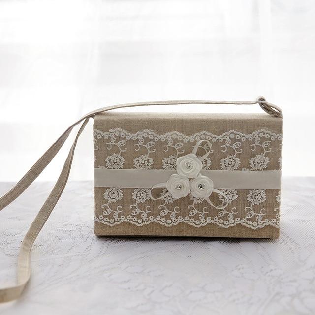 Lace Burlap Favor Bags Vintage Flower Wedding Candy Linen Gifts Pouch Kids Hand