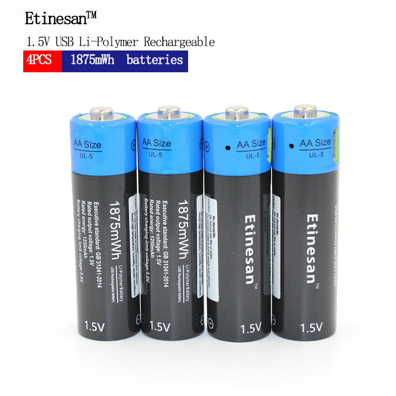 Etinesan 4pcs <font><b>1.5V</b></font> <font><b>AA</b></font> 1875mwh Li-polymer <font><b>lithium</b></font> li-ion Rechargeable Toys <font><b>Battery</b></font>, For game,microphone,flashlights ect. image