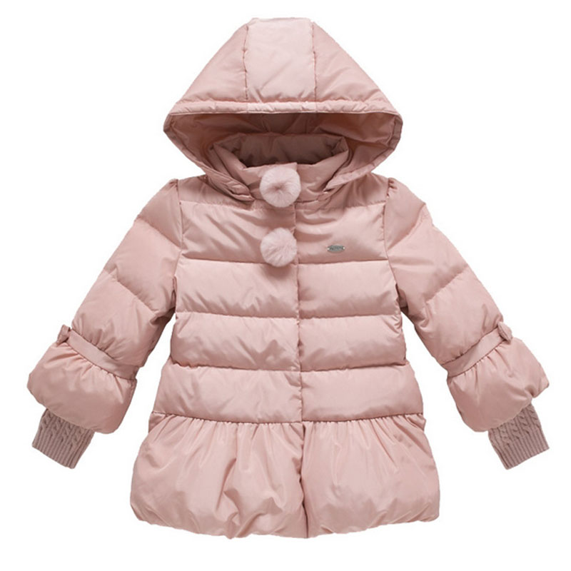 Winter Jacket For Girls Kids Hooded Parka Knitted Stitching Cuff Children Warm Coats Autumn Down Jackets Girls Snowsuit Outfit