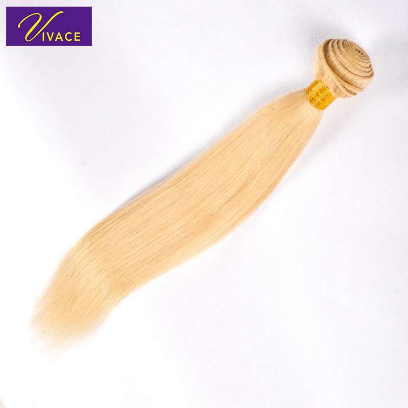 Vivace hair Straight hair Bundles Weave 100% Remy Human Hair Extensions Indian Hair 1 PC Blonde Full 613 Color 10-28Inch