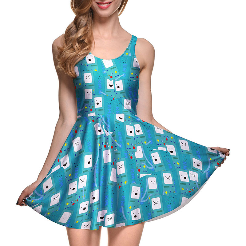 9b58a01ecd381 US $11.04 8% OFF|NEW Arrival 1002 Sexy Girl Women Summer Adventure Time Dog  Jake 3D Print Reversible Sleeveless Skater Pleated Dress Plus size-in ...