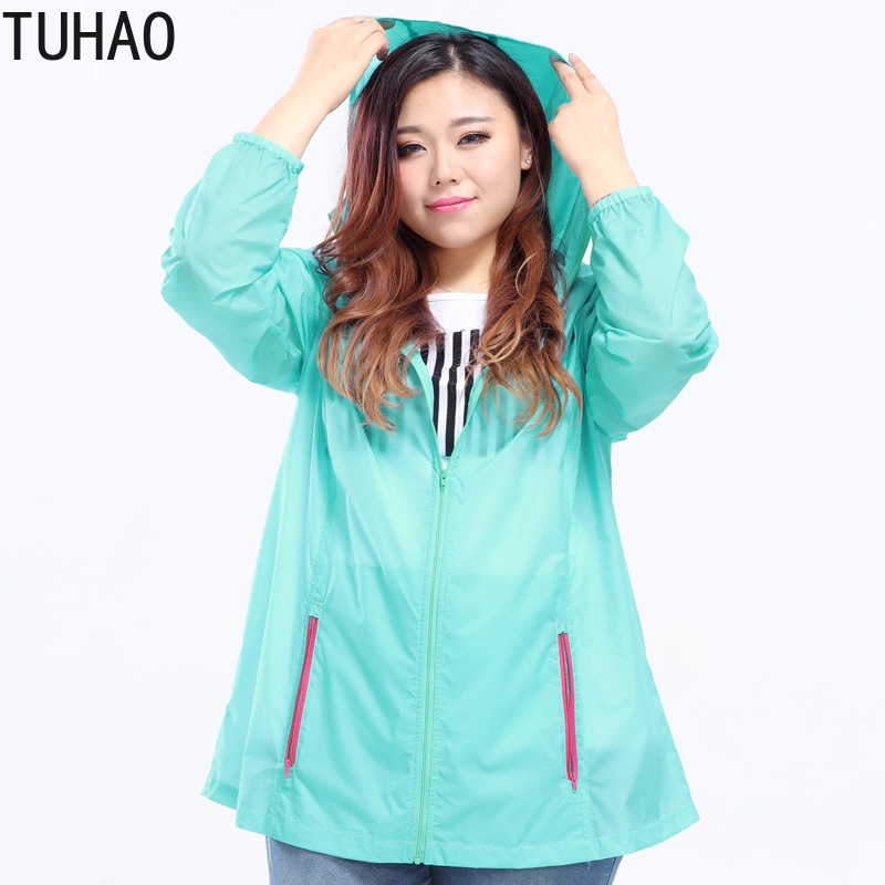TUHAO 2019 Summer Thin Breathable Sun Protection Women's   Trench   Coats 10XL 8XL 6XL Shirt Loose Oversize Zippers   Trench   Coat MS21