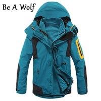 Be A Wolf Hiking Jacket Warm Men Winter Inner Fleece Waterproof Outdoor Sport Coat Camping Trekking