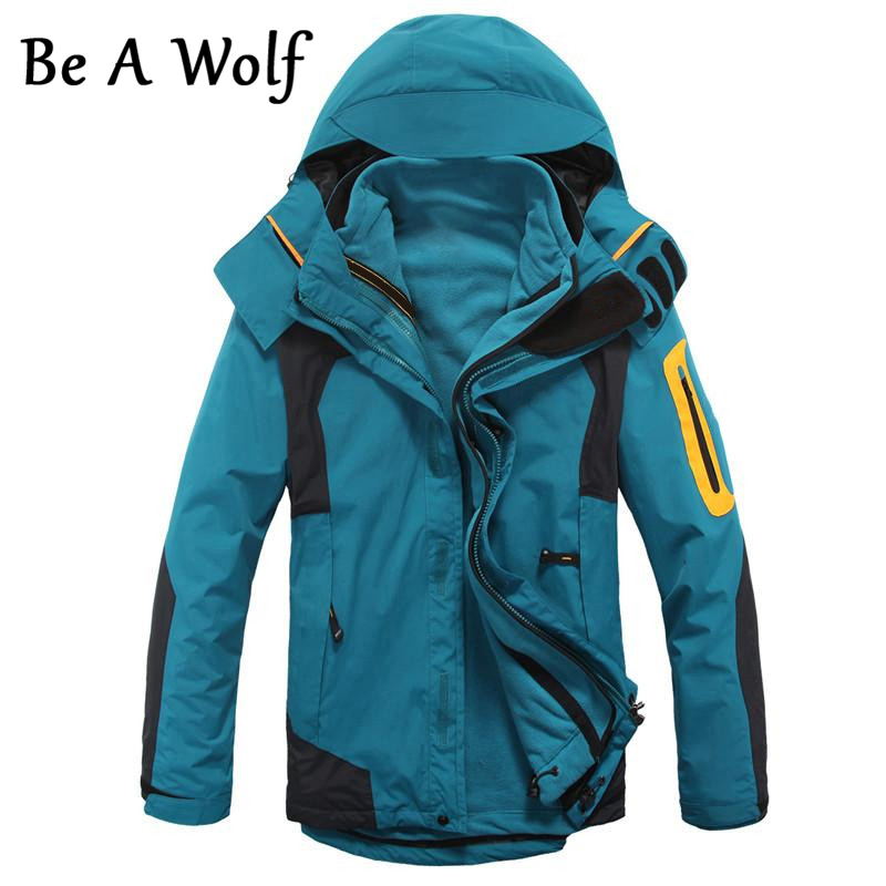 Be A Wolf Hiking Jacket Warm Men Winter Inner Fleece Waterproof Outdoor Sport Coat Camping Trekking