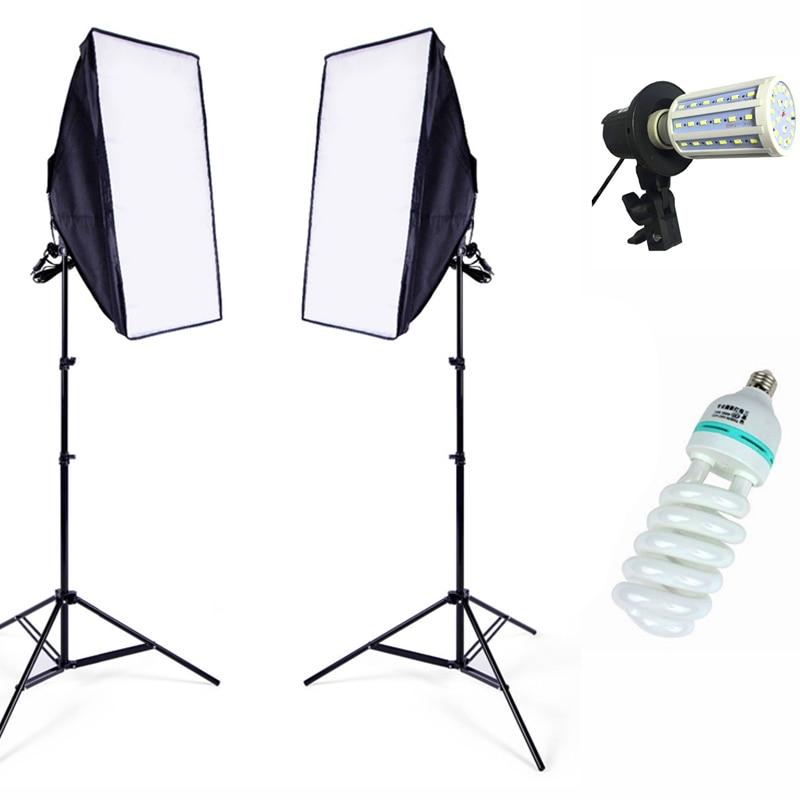 Photo Equipment Soft Studio Lighting Softbox Continuous Lighting Kit 2meter Light Stand LED Swith Photography Softbox Light Kit ashanks photographic equipment 5 e27 socket lamp holder with 60x90cm softbox photo studio light tent box kit continuous lighting