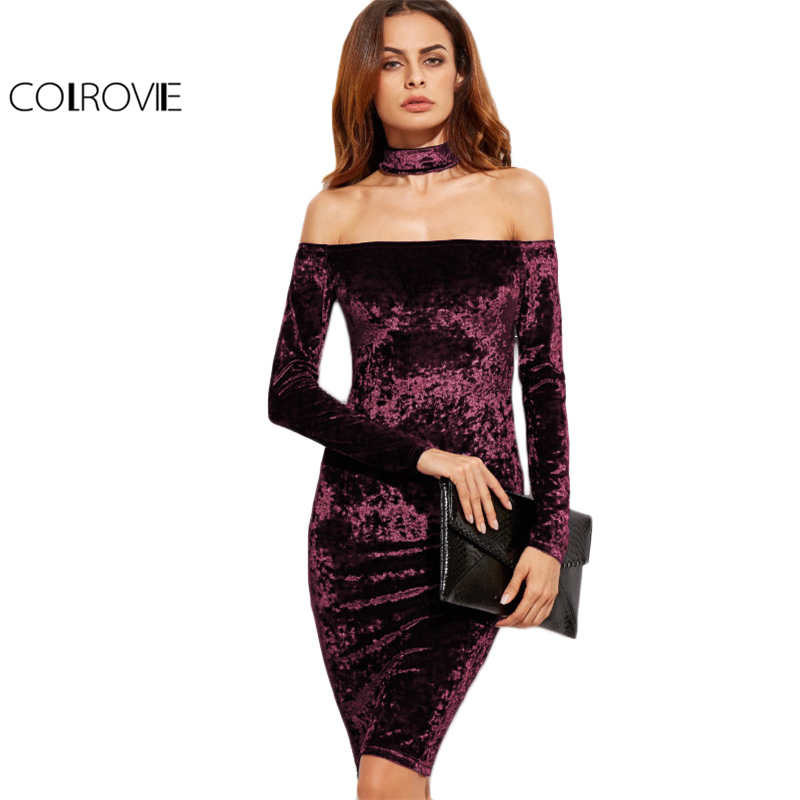 New Sleeveless velvet floral print bodycon midi dress cocktail party with choker