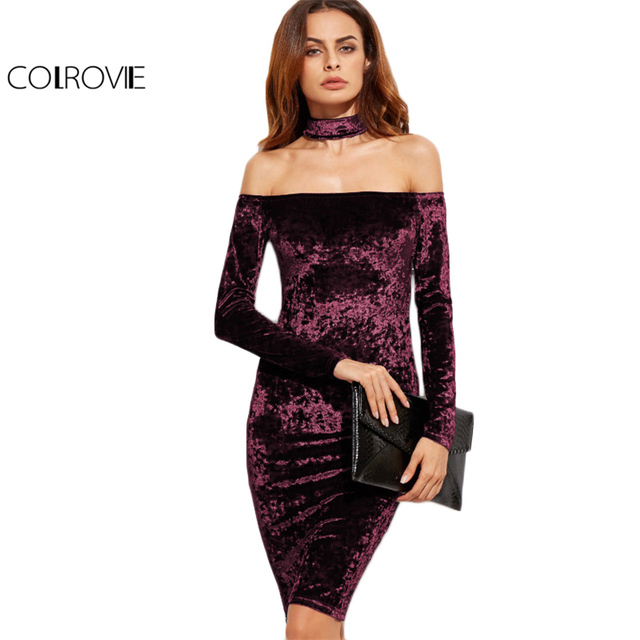 c2de586e3a COLROVIE Bardot Velvet Bodycon Dress With Choker Women Sexy Party Club Long  Sleeve Dresses Off Shoulder Zip Slim Midi Dress