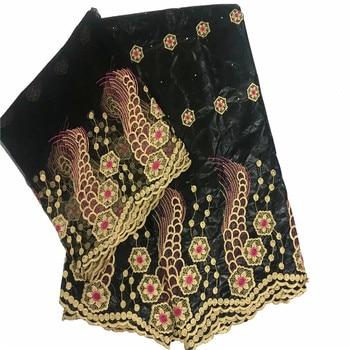 Tela De Algodón Orgánico   2019 Nueva Llegada De Tela De Piedra Africana Con Encaje Bordado/Bazin Riche Para Vestido Material Nigeriano KY052725