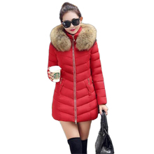 2016 Winter New Fashion Women's cotton Jacket Girls long paragraph Fur collar Slim Down Jacket Plus size Parkas Mujer S-XXXL