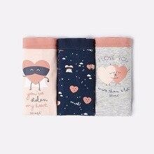 Women's OY Sweet Hearts Print Wonderful 3pcs Cotton Classic Briefs Gift Box Set Underwear Intimates Lingerie Panties Underwear