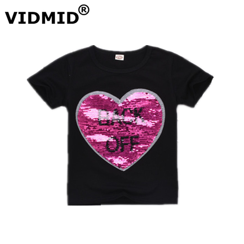 VIDMID T-Shirt Kids Sequins Baby-Boys-Girls Top-Clothing Short-Sleeve Discoloration Cotton