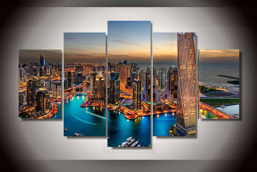 Framed Printed dubai city skyscrapers Group Painting childrens room decor print poster picture canvas Free shipping/wo1520