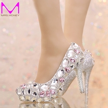 2016 Silver Rhinestone Wedding Shoes Round Toe Bridal Shoes with Pink Crystal Platform Prom Shoes Graduation Party High Heels
