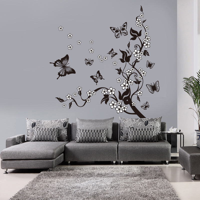 Image 5 - Creative Butterfly Flower Branch Decorative Wall Stickers Home Decor Living Room Decorations Pvc Wall Decals Diy Mural Art-in Wall Stickers from Home & Garden