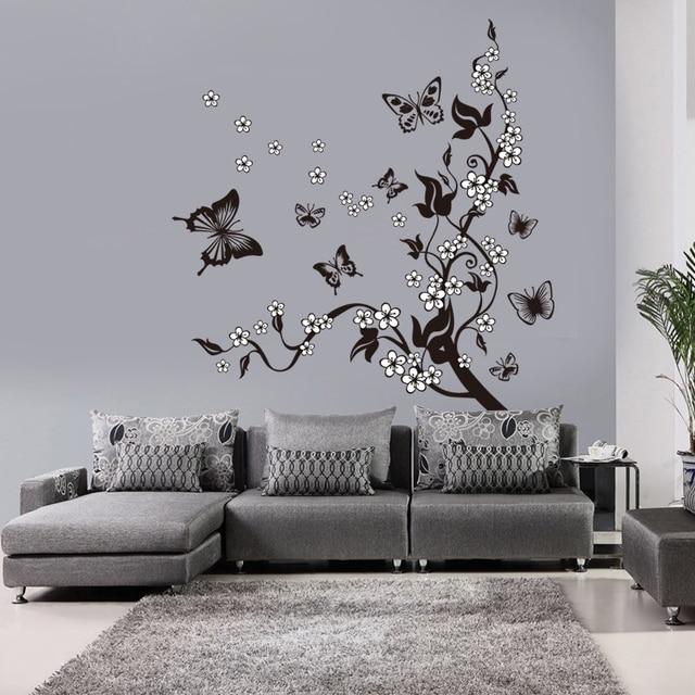 Creative Butterfly Flower Branch Decorative Wall Sticker 8