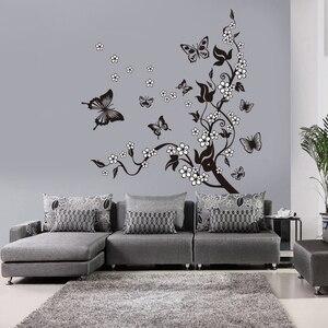 Image 5 - Yaratıcı kelebek çiçek şube dekoratif duvar çıkartmaları ev dekor oturma odası dekorasyon Pvc duvar çıkartmaları Diy duvar sanatı