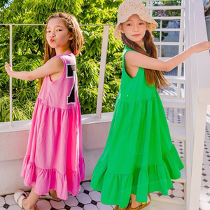 Image 1 - מותג בנות שמלת ילדי שמלה קיצית 2020 תינוק קיץ שמלת כותנה מקסי ארוך ילדי פנאי שמלה מזדמן פעוט אלסטי, #5267
