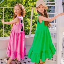 Robe dété de marque pour filles, tenue dété, élastique, en coton, Maxi, longue et décontractée, 2020