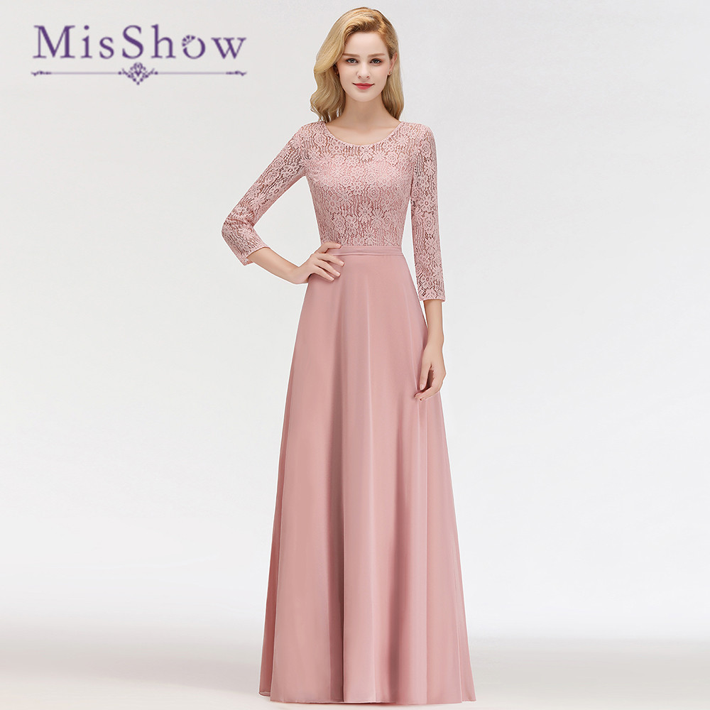 2019 New Arrivals Long Chiffon Long Sleeves O Neck   Bridesmaid     Dresses     Dresses   A-line   Bridesmaid   For Wedding Party Guest   Dress