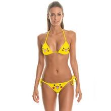 Free Shippping Pokemon Bra Sexy Swimsuit  Swimwear 3D Print Lovely Carton Pokemon Bra Sexy Cute Girls BIkini Emojis Beachwear