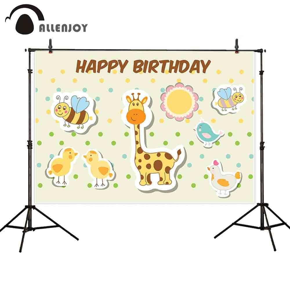 Us 13 89 Allenjoy Cartoon Animal Sticker Colors Dots Baby Child Birthday Party Chicken Giraffe Bee Bird Sun Backdrop Background Wallpaper In