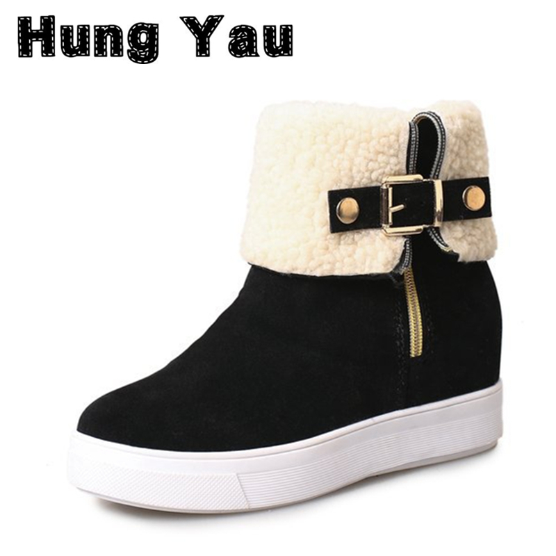 Hung Yau Classic Women Snow Boots Leather Winter Shoes Boot With Two Way Wear Method Women's Fur Snow Boots Black Size US 8