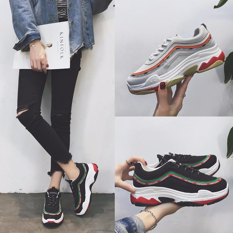 Plataforma Mujer Zapatillas Negro gris Antideslizante 2019 Señoras Harajuku Planos Blanco Negro Goma Las Nuevas Deporte blanco Y Zapatos De Mujeres Casuales nf10qwYS
