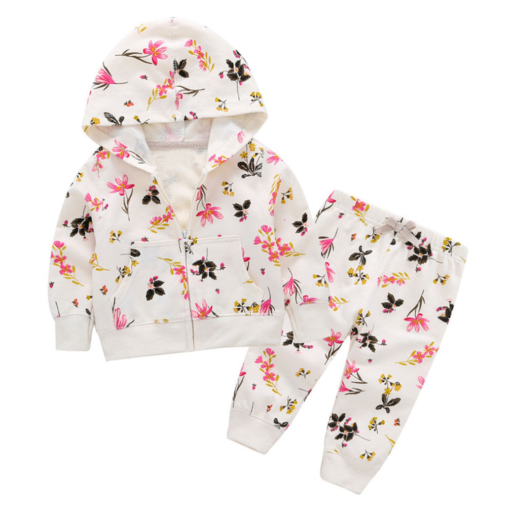 2018 Autumn Baby Girl Clothes Floral Print Newborn Infant Hooded Zipper Sweatshirt Top Pant 2pcs Kids Outfit Suit Bebek Giyim 2017 floral baby romper newborn baby girl clothes ruffles sleeve bodysuit headband 2pcs outfit bebek giyim sunsuit 0 24m