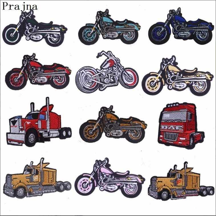 Prajna Kids Cool Tractor Motorcycle Patch Bicycle Stickers Embroidered Iron On Patches For Clothing Stickers Patches Badges