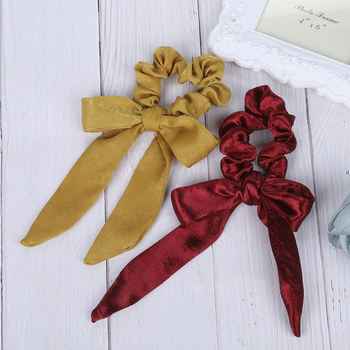 Bow Streamers Hair Ring Ribbon Girl Bands Scrunchies Horsetail Tie 4